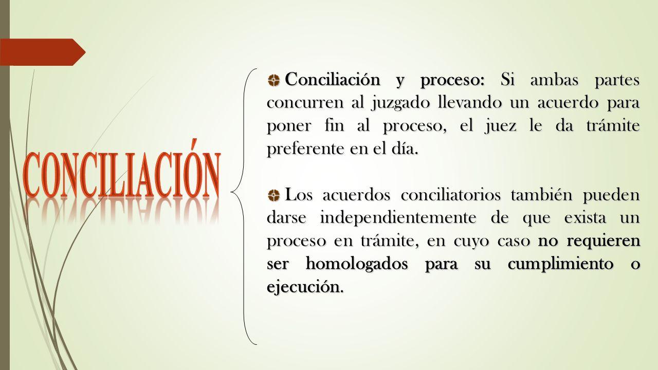 Conciliación y proceso: Si ambas partes concurren al juzgado llevando un acuerdo para poner fin al proceso, el juez le da trámite preferente en el día