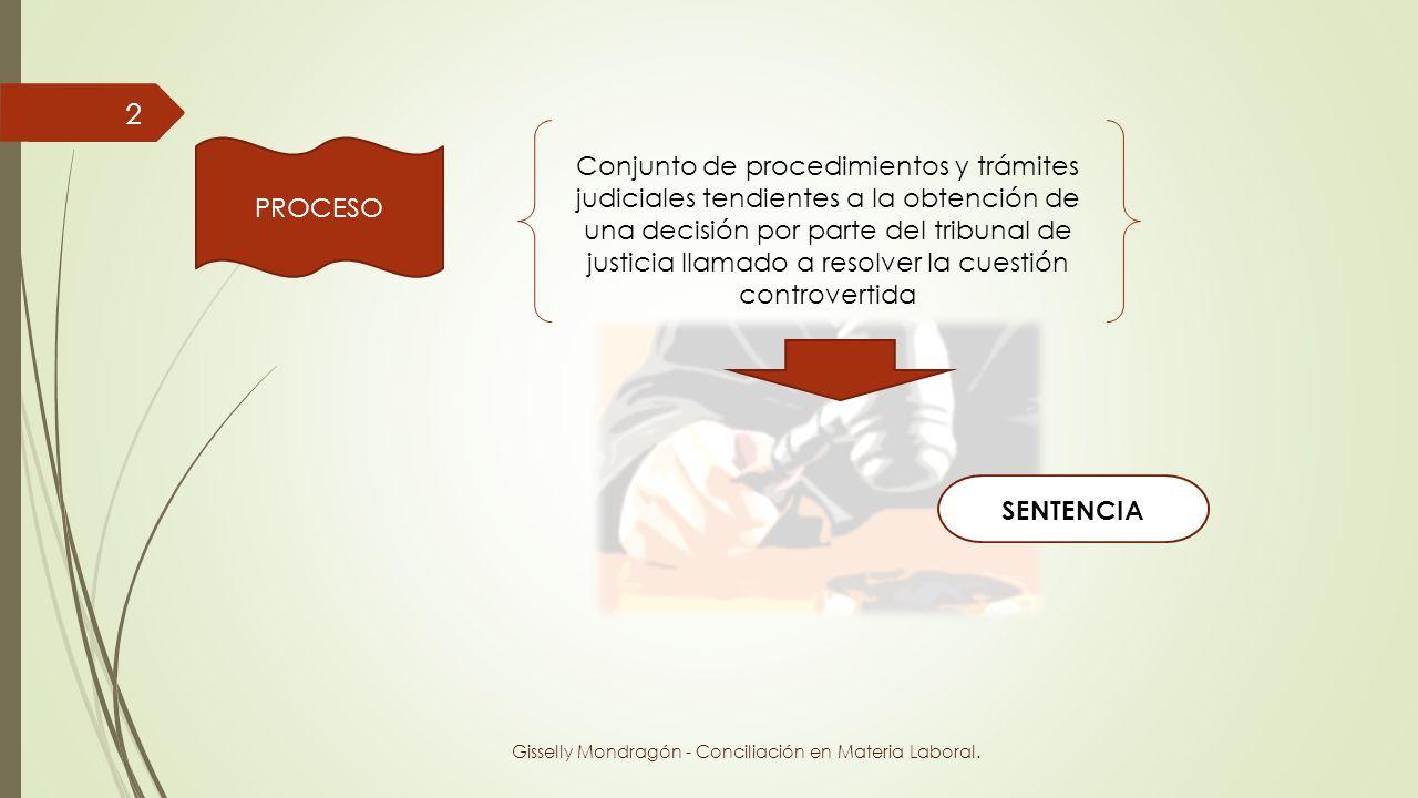 PROCESO Conjunto de procedimientos y trámites judiciales tendientes a la obtención de una decisión por parte del tribunal de justicia llamado a resolv