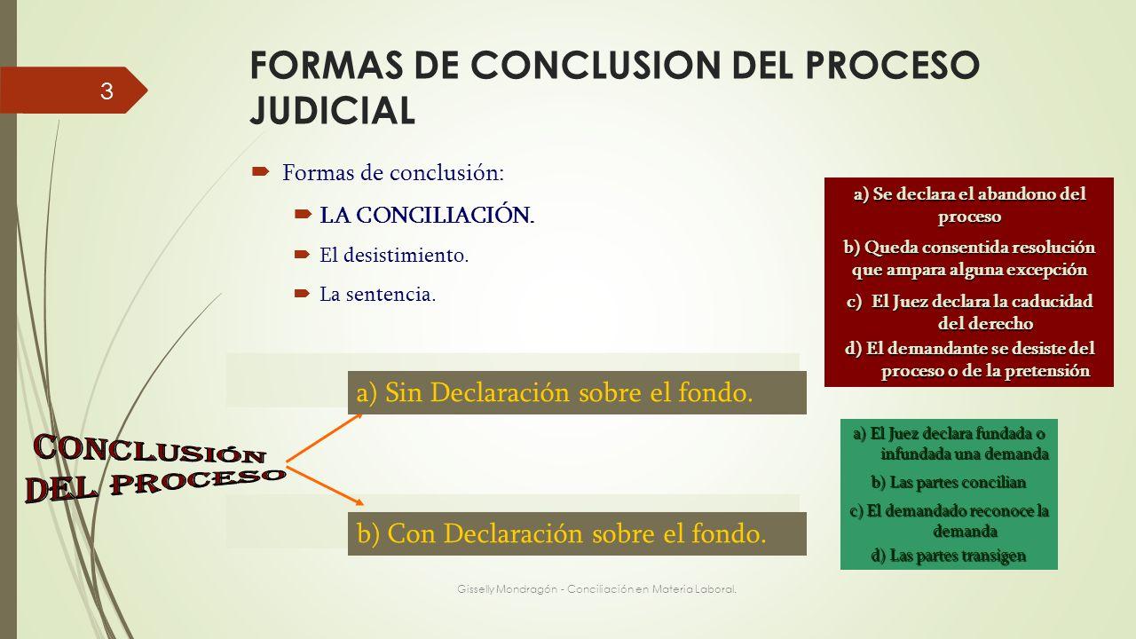 FORMAS DE CONCLUSION DEL PROCESO JUDICIAL Gisselly Mondragón - Conciliación en Materia Laboral. 3 Formas de conclusión: LA CONCILIACIÓN. El desistimie