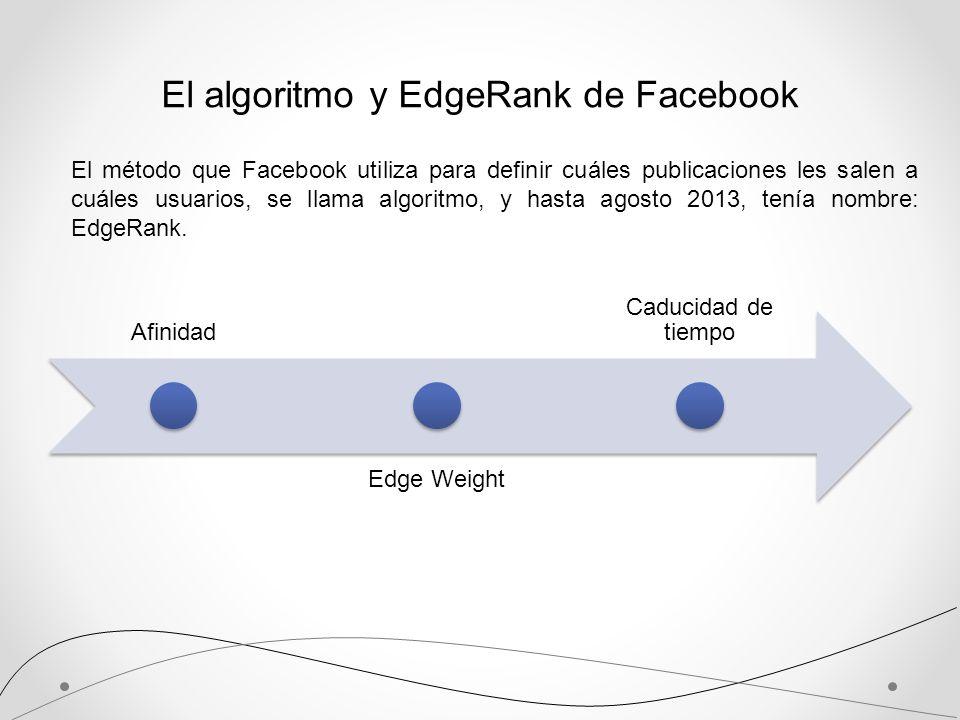 El algoritmo y EdgeRank de Facebook El método que Facebook utiliza para definir cuáles publicaciones les salen a cuáles usuarios, se llama algoritmo,