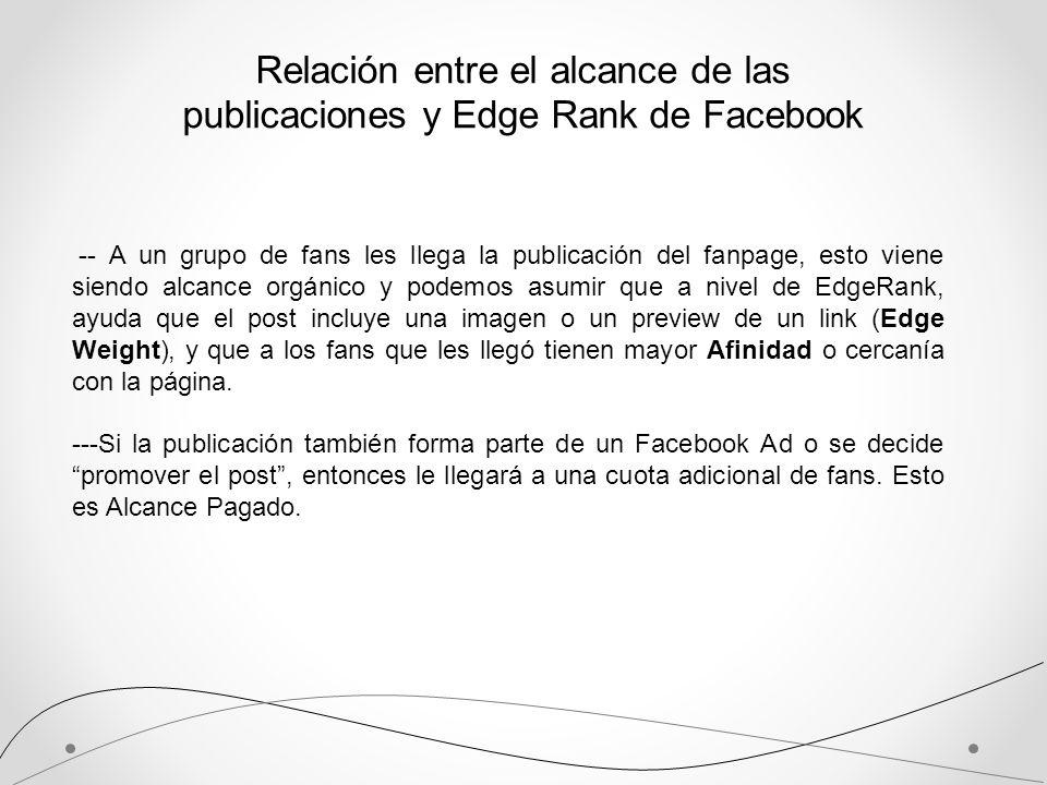 Relación entre el alcance de las publicaciones y Edge Rank de Facebook -- A un grupo de fans les llega la publicación del fanpage, esto viene siendo a