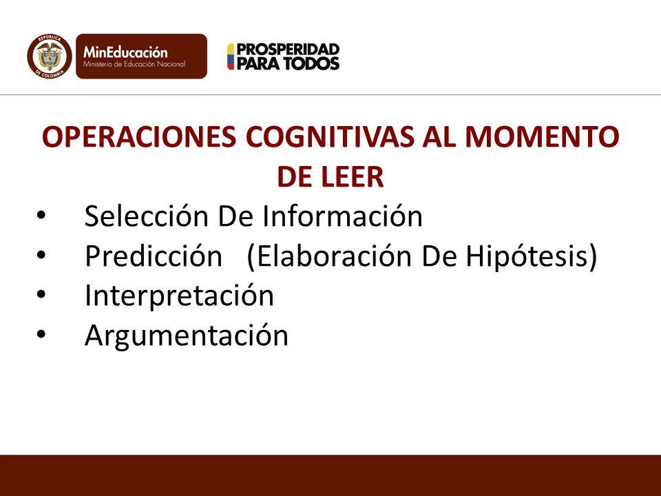 OPERACIONES COGNITIVAS AL MOMENTO DE LEER Selección De Información Predicción (Elaboración De Hipótesis) Interpretación Argumentación