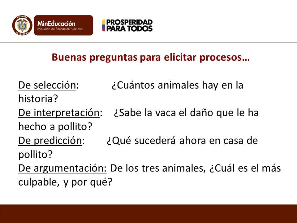 Buenas preguntas para elicitar procesos… De selección: ¿Cuántos animales hay en la historia? De interpretación: ¿Sabe la vaca el daño que le ha hecho
