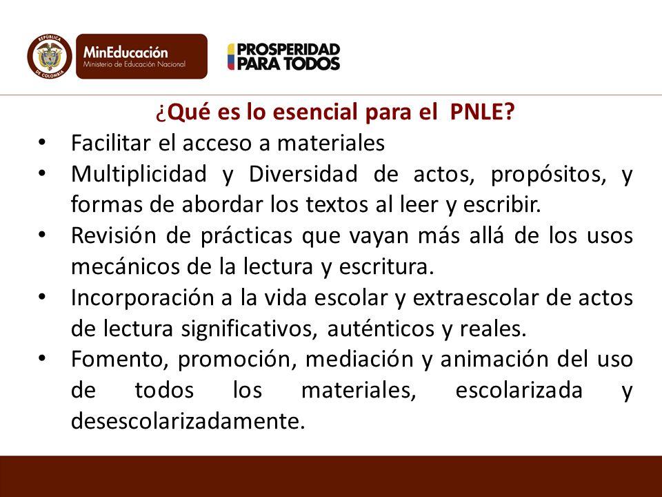¿Qué es lo esencial para el PNLE? Facilitar el acceso a materiales Multiplicidad y Diversidad de actos, propósitos, y formas de abordar los textos al
