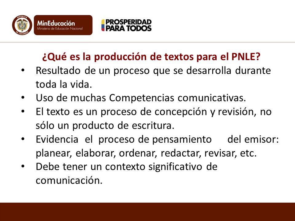¿Qué es la producción de textos para el PNLE? Resultado de un proceso que se desarrolla durante toda la vida. Uso de muchas Competencias comunicativas