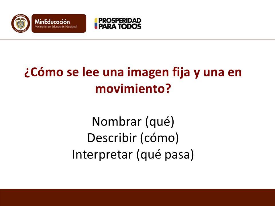 ¿Cómo se lee una imagen fija y una en movimiento? Nombrar (qué) Describir (cómo) Interpretar (qué pasa)