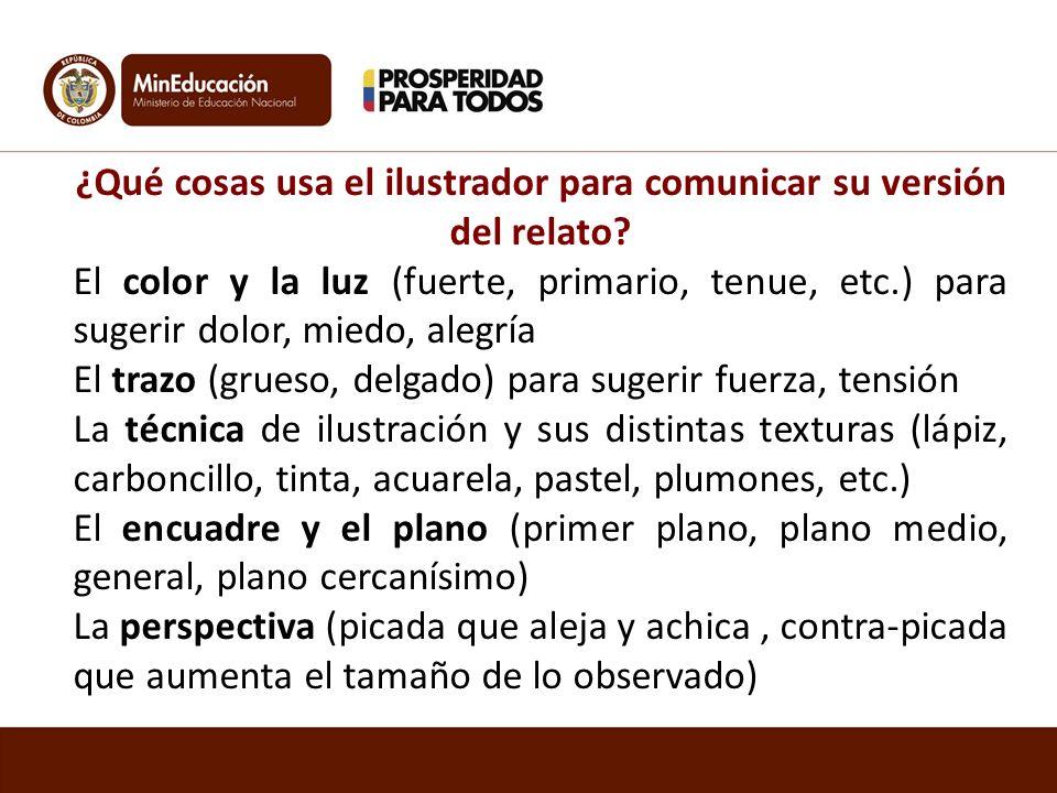 ¿Qué cosas usa el ilustrador para comunicar su versión del relato? El color y la luz (fuerte, primario, tenue, etc.) para sugerir dolor, miedo, alegrí
