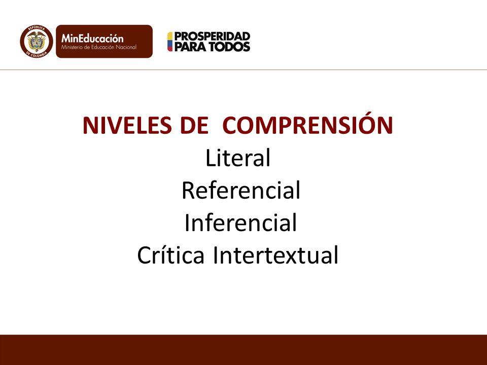 NIVELES DE COMPRENSIÓN Literal Referencial Inferencial Crítica Intertextual