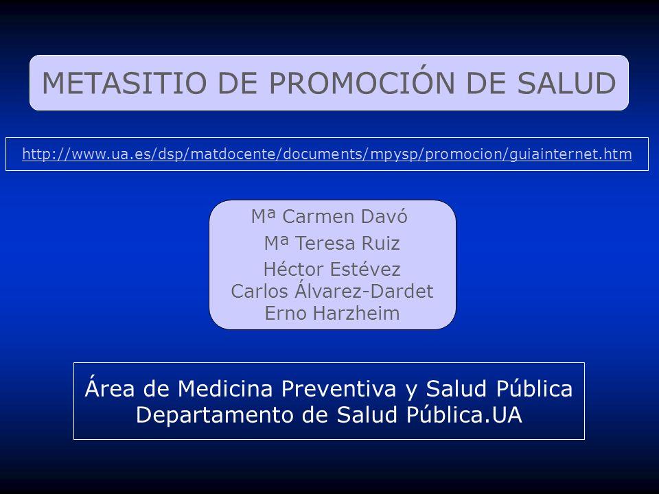 METASITIO DE PROMOCIÓN DE SALUD Mª Carmen Davó Mª Teresa Ruiz Héctor Estévez Carlos Álvarez-Dardet Erno Harzheim Área de Medicina Preventiva y Salud P