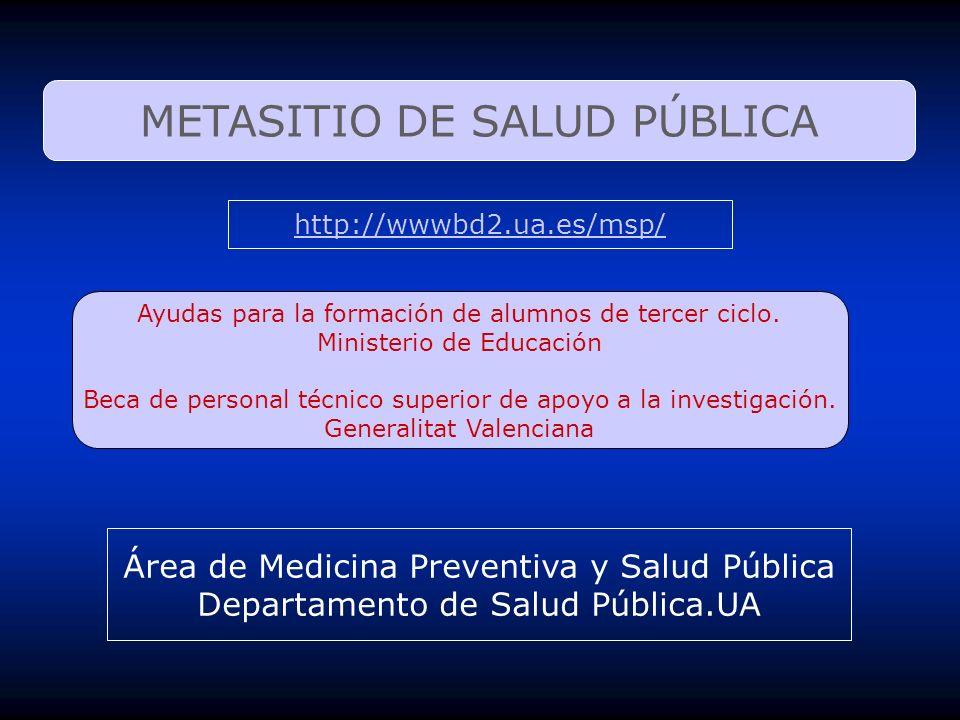 METASITIO DE SALUD PÚBLICA http://wwwbd2.ua.es/msp/ Área de Medicina Preventiva y Salud Pública Departamento de Salud Pública.UA Ayudas para la formac