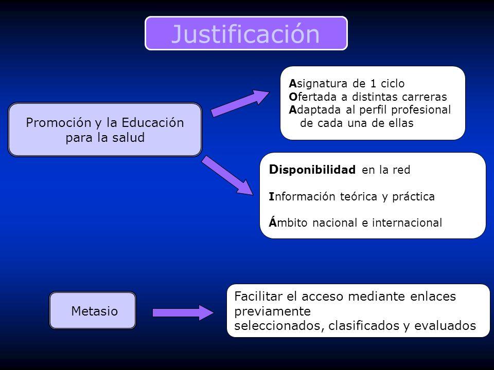 Justificación Promoción y la Educación para la salud Asignatura de 1 ciclo Ofertada a distintas carreras Adaptada al perfil profesional de cada una de