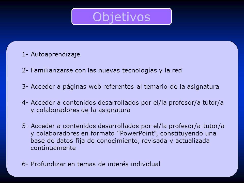 1- Autoaprendizaje 2- Familiarizarse con las nuevas tecnologías y la red 3- Acceder a páginas web referentes al temario de la asignatura 4- Acceder a