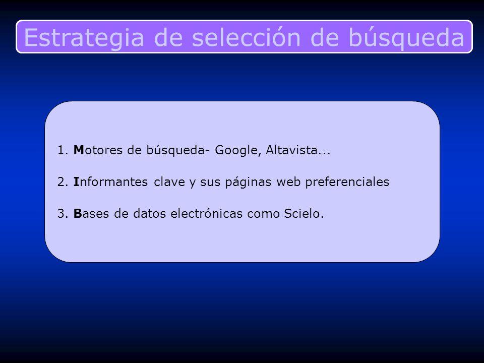 Estrategia de selección de búsqueda 1. Motores de búsqueda- Google, Altavista... 2. Informantes clave y sus páginas web preferenciales 3. Bases de dat
