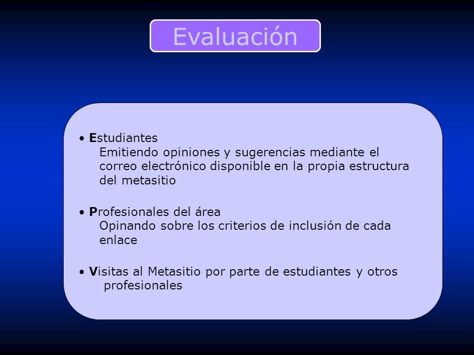 Estudiantes Emitiendo opiniones y sugerencias mediante el correo electrónico disponible en la propia estructura del metasitio Profesionales del área O