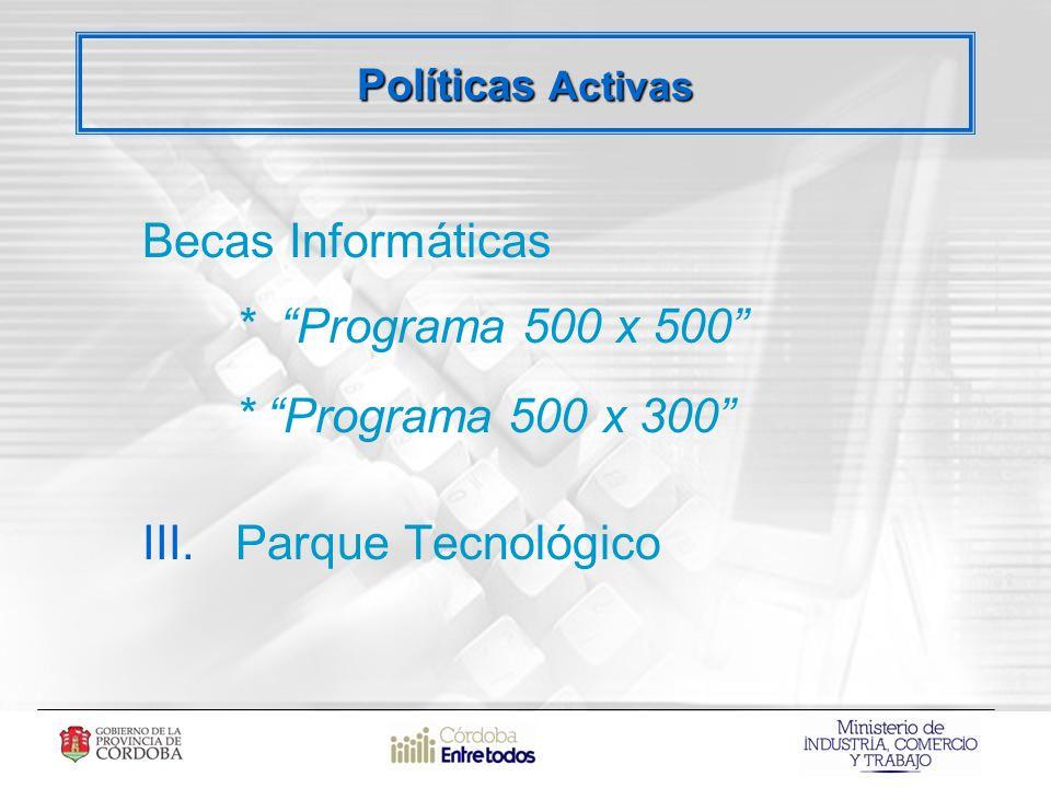 Becas Informáticas * Programa 500 x 500 * Programa 500 x 300 III.Parque Tecnológico Políticas Activas