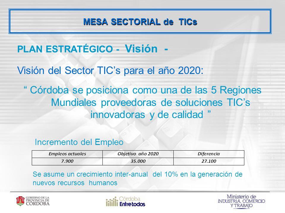 MESA SECTORIAL de TICs PLAN ESTRATÉGICO - Visión - Visión del Sector TICs para el año 2020 : Córdoba se posiciona como una de las 5 Regiones Mundiales proveedoras de soluciones TICs innovadoras y de calidad Se asume un crecimiento inter-anual del 10% en la generación de nuevos recursos humanos Incremento del Empleo