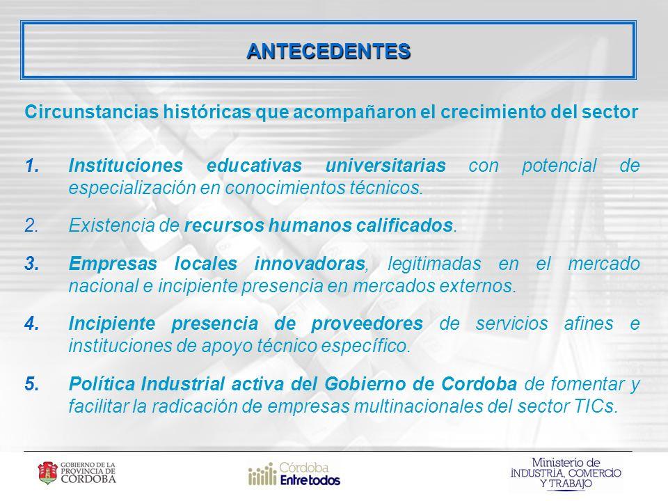 Circunstancias históricas que acompañaron el crecimiento del sector 1.Instituciones educativas universitarias con potencial de especialización en conocimientos técnicos.