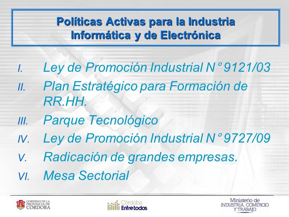 I. Ley de Promoción Industrial N° 9121/03 II. Plan Estratégico para Formación de RR.HH.