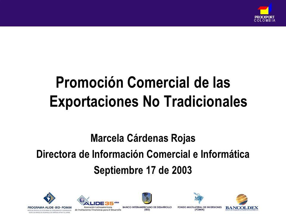 PROEXPORT C O L O M B I A Promoción Comercial de las Exportaciones No Tradicionales Marcela Cárdenas Rojas Directora de Información Comercial e Inform
