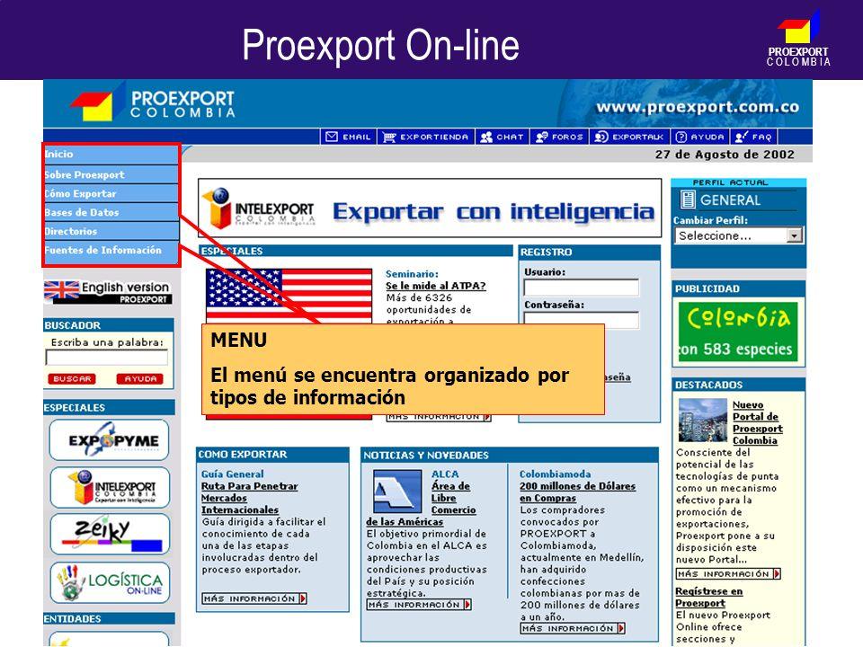 PROEXPORT C O L O M B I A Proexport On-line MENU El menú se encuentra organizado por tipos de información