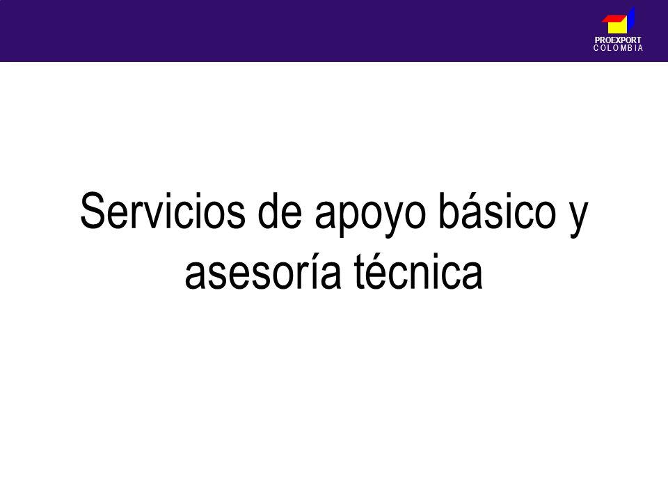 PROEXPORT C O L O M B I A Servicios de apoyo básico y asesoría técnica