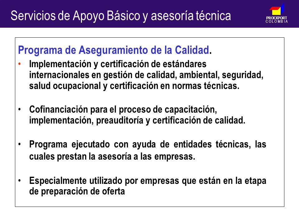 PROEXPORT C O L O M B I A Programa de Aseguramiento de la Calidad. Implementación y certificación de estándares internacionales en gestión de calidad,