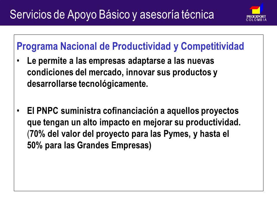 PROEXPORT C O L O M B I A Programa Nacional de Productividad y Competitividad Le permite a las empresas adaptarse a las nuevas condiciones del mercado