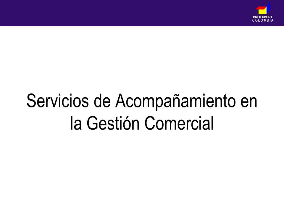 PROEXPORT C O L O M B I A Servicios de Acompañamiento en la Gestión Comercial