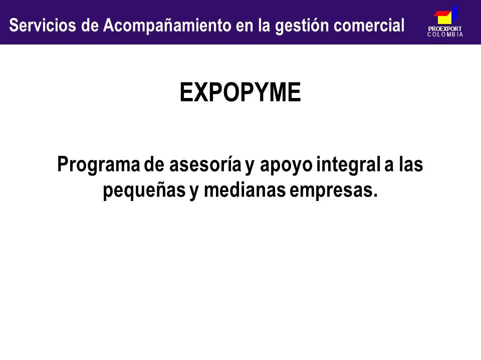 PROEXPORT C O L O M B I A EXPOPYME Programa de asesoría y apoyo integral a las pequeñas y medianas empresas. Servicios de Acompañamiento en la gestión