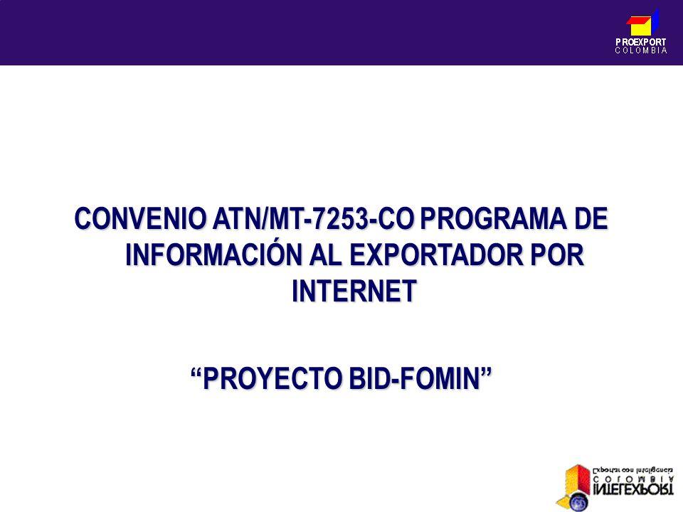 PROEXPORT C O L O M B I A CONVENIO ATN/MT-7253-CO PROGRAMA DE INFORMACIÓN AL EXPORTADOR POR INTERNET PROYECTO BID-FOMIN