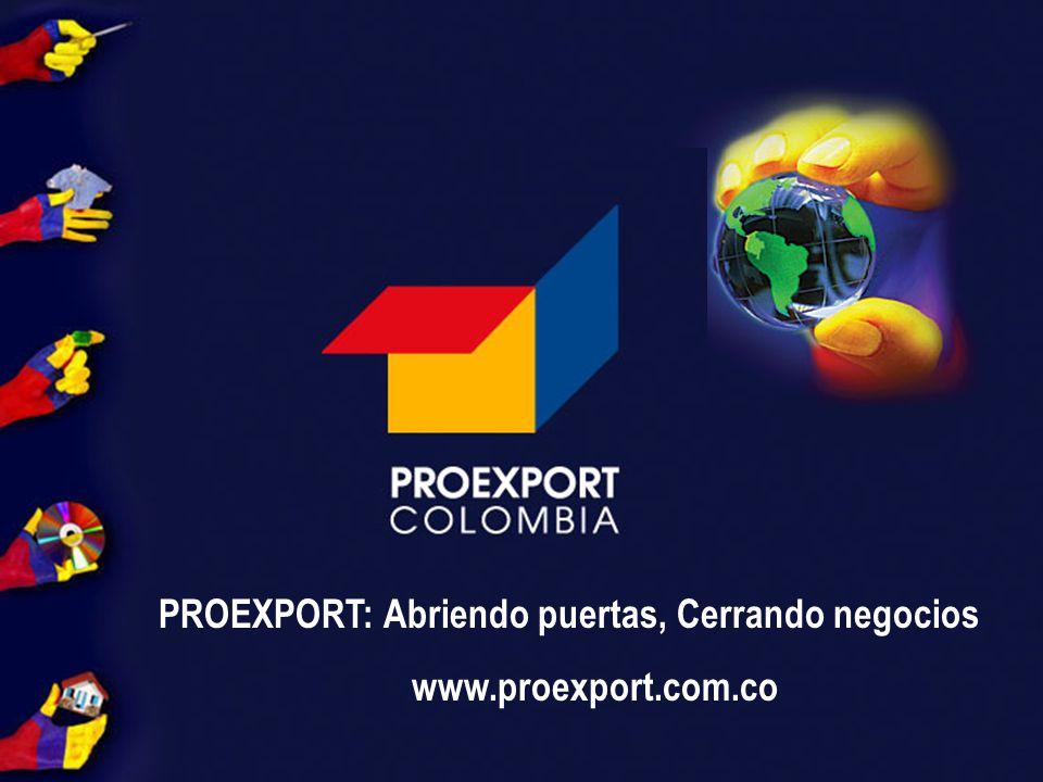 PROEXPORT C O L O M B I A PROEXPORT: Abriendo puertas, Cerrando negocios www.proexport.com.co