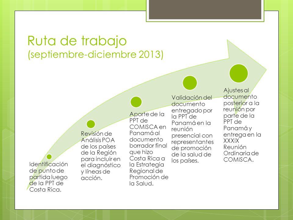 Identificación de punto de partida luego de la PPT de Costa Rica. Revisión de Análisis POA de los países de la Región para incluir en el diagnóstico y