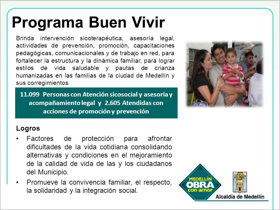 Programa Buen Vivir Brinda intervención sicoterapéutica, asesoría legal, actividades de prevención, promoción, capacitaciones pedagógicas, comunicacio