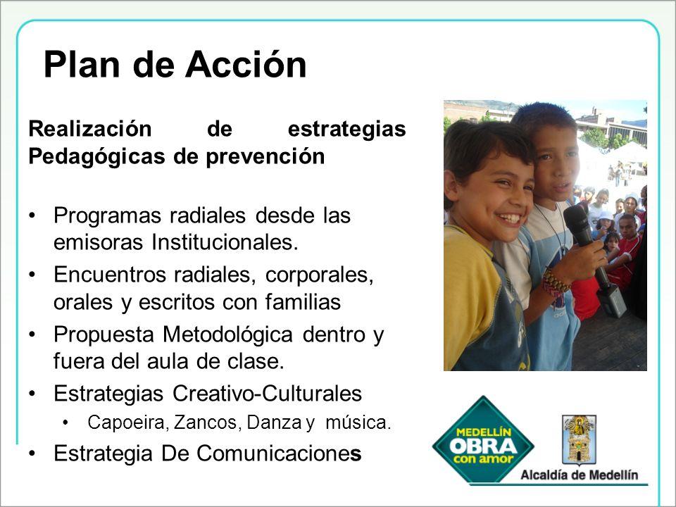 Realización de estrategias Pedagógicas de prevención Programas radiales desde las emisoras Institucionales. Encuentros radiales, corporales, orales y