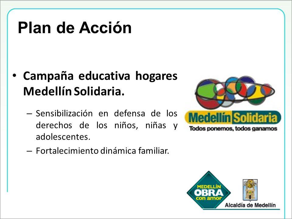 Campaña educativa hogares Medellín Solidaria. – Sensibilización en defensa de los derechos de los niños, niñas y adolescentes. – Fortalecimiento dinám