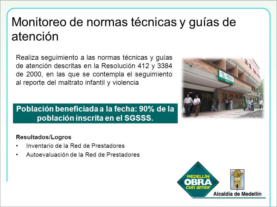 Monitoreo de normas técnicas y guías de atención Población beneficiada a la fecha: 90% de la población inscrita en el SGSSS. Realiza seguimiento a las