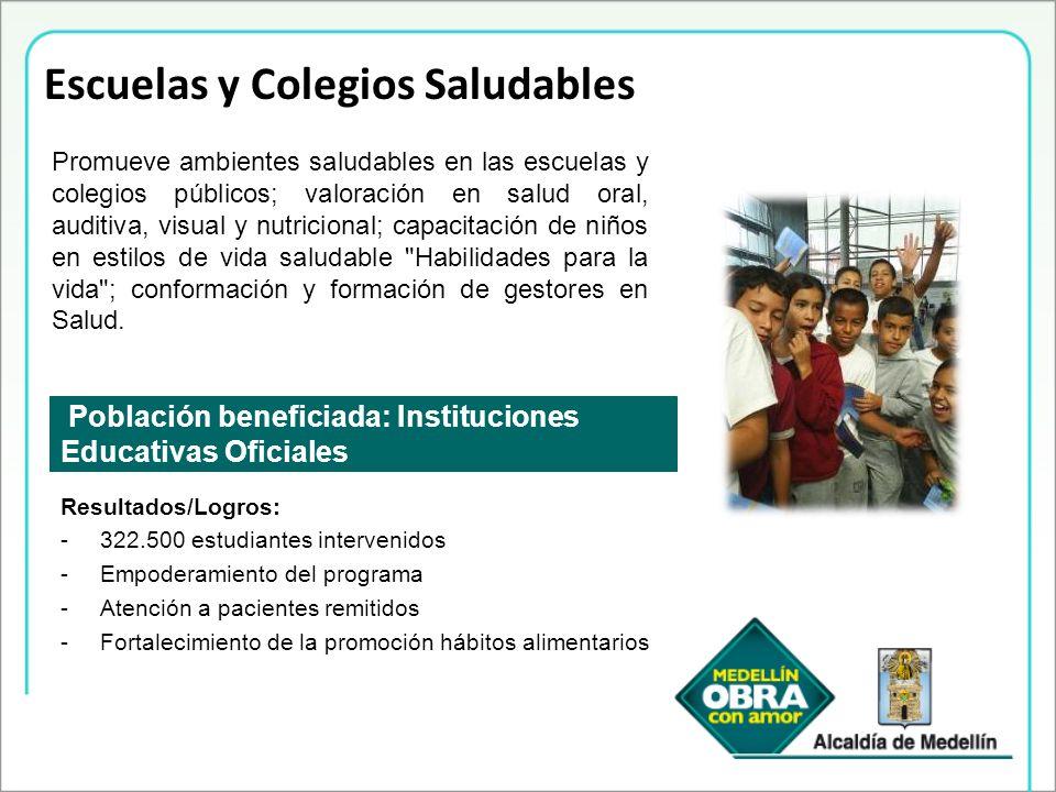 Escuelas y Colegios Saludables Población beneficiada: Instituciones Educativas Oficiales Promueve ambientes saludables en las escuelas y colegios públ
