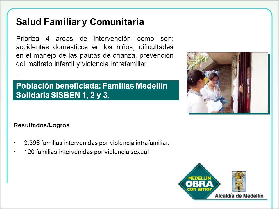 Población beneficiada: Familias Medellín Solidaria SISBEN 1, 2 y 3. Prioriza 4 áreas de intervención como son: accidentes domésticos en los niños, dif