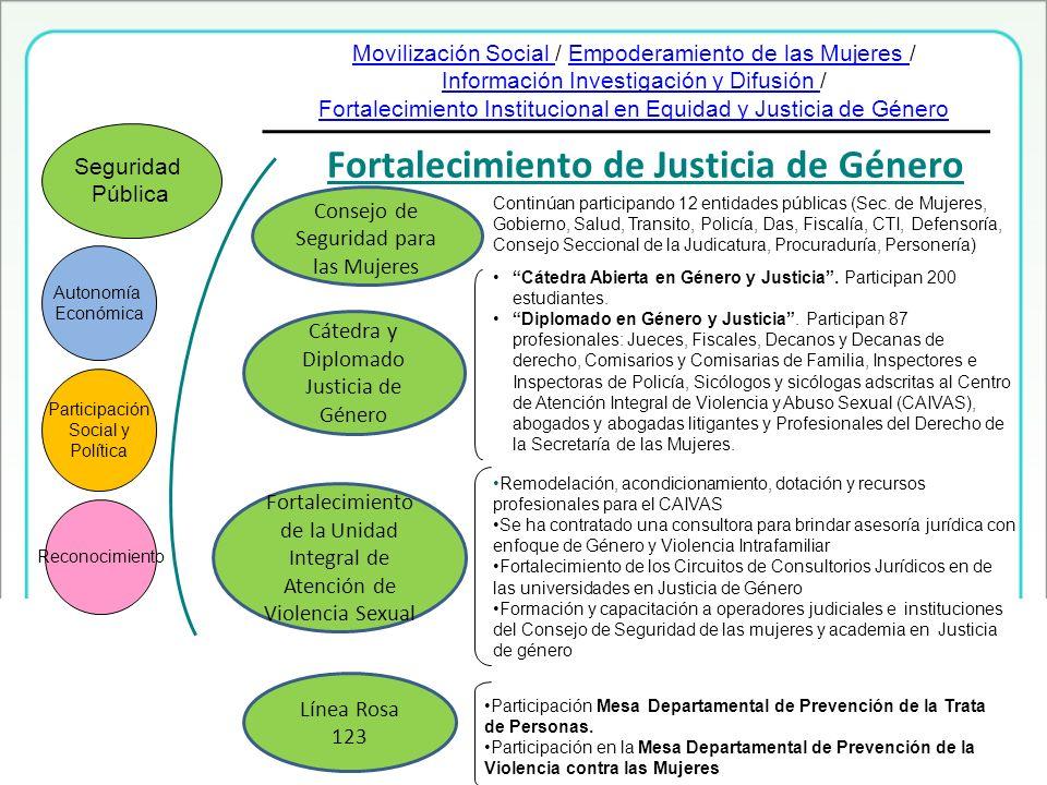 Fortalecimiento de Justicia de Género Fortalecimiento de la Unidad Integral de Atención de Violencia Sexual Cátedra y Diplomado Justicia de Género Aut