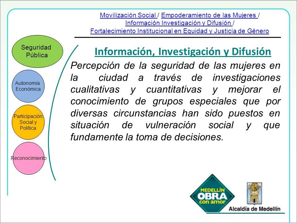 Autonomía Económica Participación Social y Política Reconocimiento Seguridad Pública Información, Investigación y Difusión Percepción de la seguridad