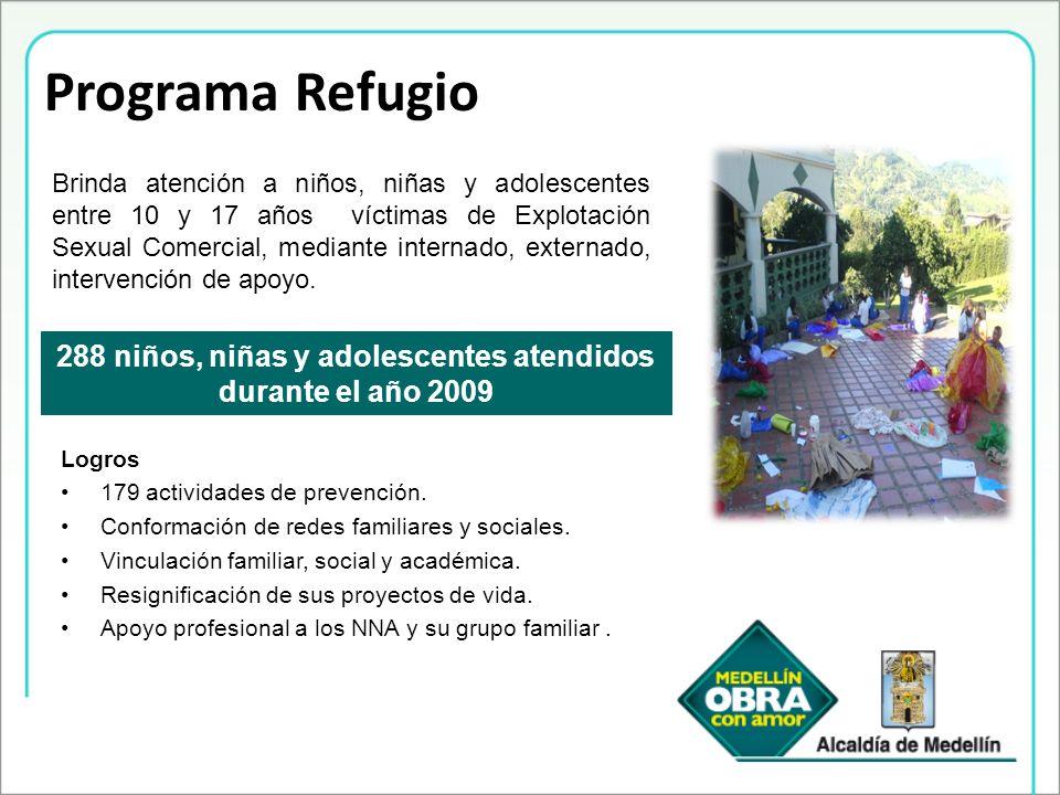 Programa Refugio 288 niños, niñas y adolescentes atendidos durante el año 2009 Brinda atención a niños, niñas y adolescentes entre 10 y 17 años víctim