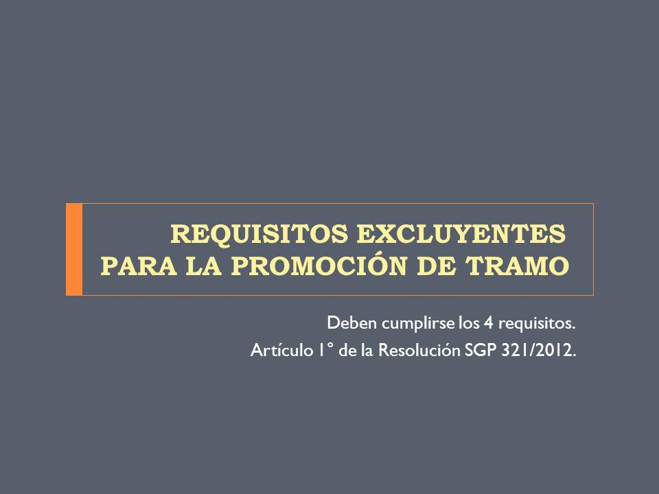 REQUISITOS EXCLUYENTES PARA LA PROMOCIÓN DE TRAMO Deben cumplirse los 4 requisitos. Artículo 1° de la Resolución SGP 321/2012.