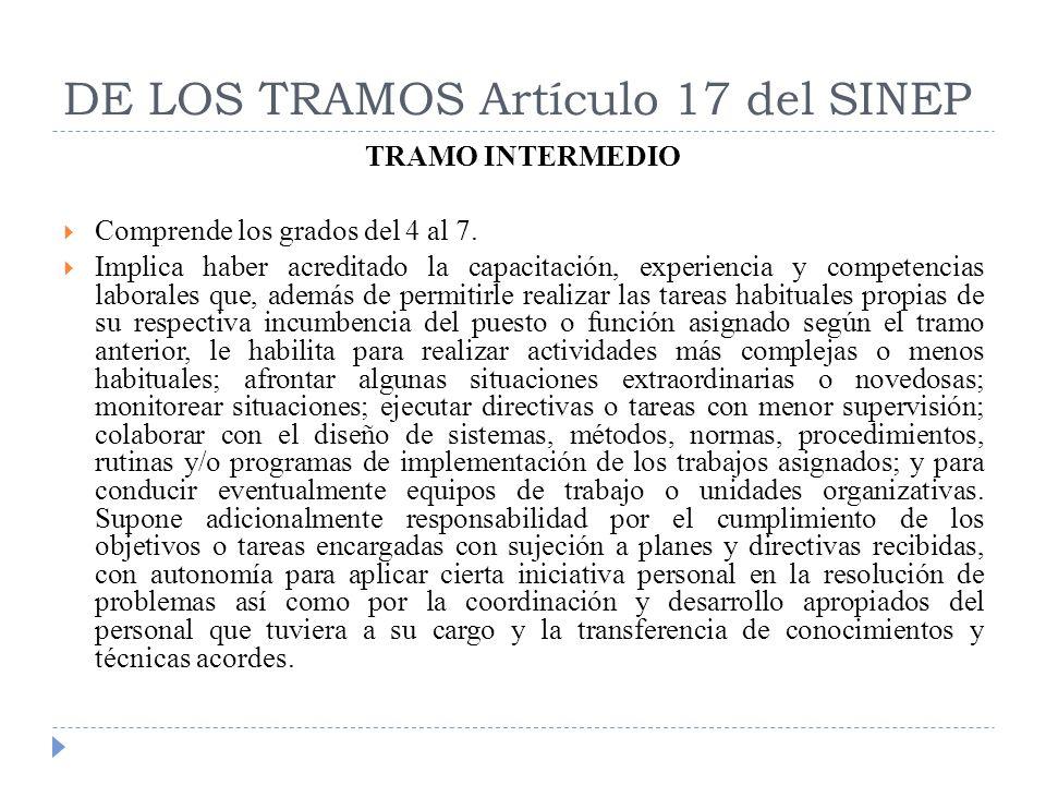 DE LOS TRAMOS Artículo 17 del SINEP TRAMO INTERMEDIO Comprende los grados del 4 al 7. Implica haber acreditado la capacitación, experiencia y competen