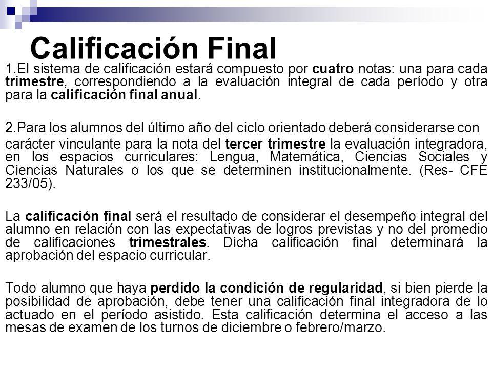 Calificación Final 1.El sistema de calificación estará compuesto por cuatro notas: una para cada trimestre, correspondiendo a la evaluación integral de cada período y otra para la calificación final anual.