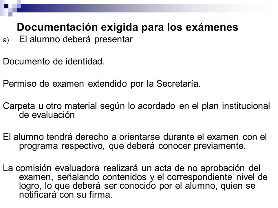 Documentación exigida para los exámenes a) El alumno deberá presentar Documento de identidad. Permiso de examen extendido por la Secretaría. Carpeta u