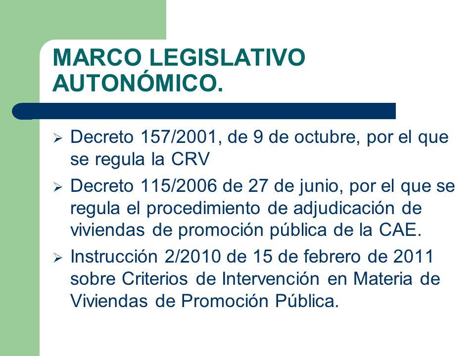 MARCO LEGISLATIVO AUTONÓMICO. Decreto 157/2001, de 9 de octubre, por el que se regula la CRV Decreto 115/2006 de 27 de junio, por el que se regula el