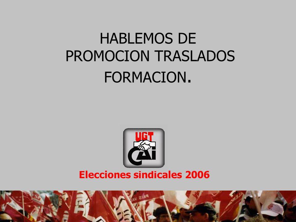 HABLEMOS DE PROMOCION TRASLADOS FORMACION. Elecciones sindicales 2006