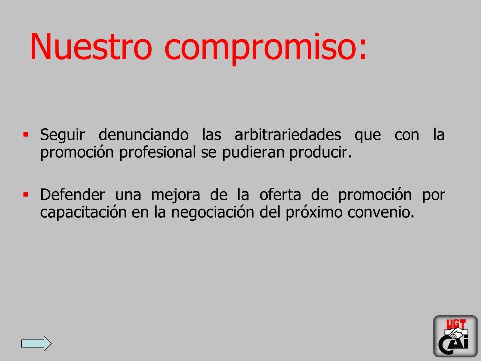 Nuestro compromiso: Seguir denunciando las arbitrariedades que con la promoción profesional se pudieran producir.
