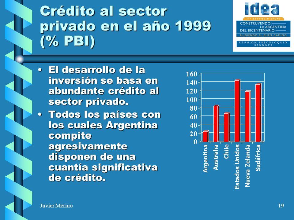 Javier Merino19 Crédito al sector privado en el año 1999 (% PBI) El desarrollo de la inversión se basa en abundante crédito al sector privado.El desar