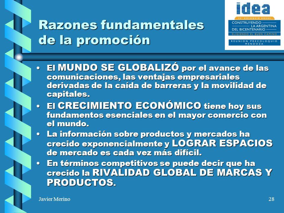 Javier Merino28 Razones fundamentales de la promoción El MUNDO SE GLOBALIZÓ por el avance de las comunicaciones, las ventajas empresariales derivadas